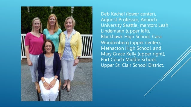 Deb Kachel (lower center), Adjunct Professor, Antioch University Seattle, mentors Leah Lindemann (upper left), Blackhawk H...