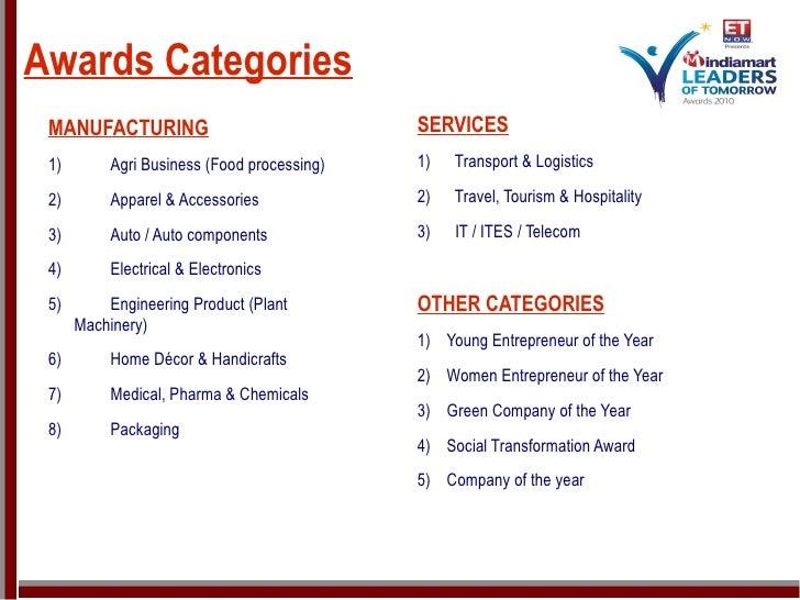 Awards Categories <ul><li>MANUFACTURING </li></ul><ul><li>1) Agri Business (Food processing) </li></ul><ul><li>2) Apparel ...