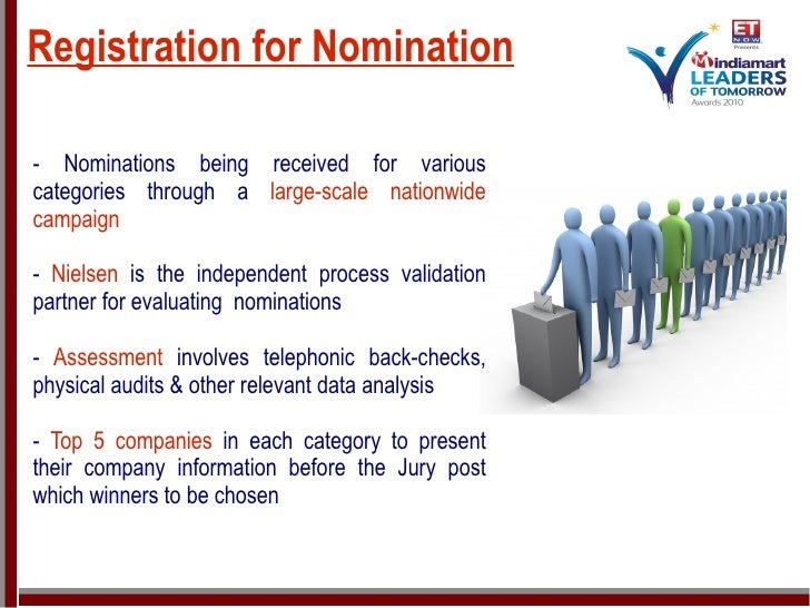 Registration for Nomination <ul><ul><li>- Nominations being received for various categories through a  large-scale nationw...