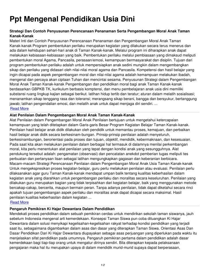 Ppt Mengenal Pendidikan Usia DiniStrategi Dan Contoh Penyusunan Perencanaan Penanaman Serta Pengembangan Moral Anak TamanK...