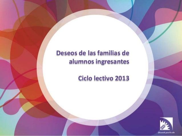 Deseos de las familias de    alumnos ingresantes       Ciclo lectivo 2013