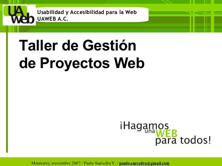 Taller de Gestión de Proyectos Web
