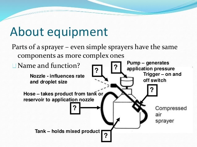 About equipment Parts of a sprayer – even simple sprayers have the same components as more complex ones Name and function?...