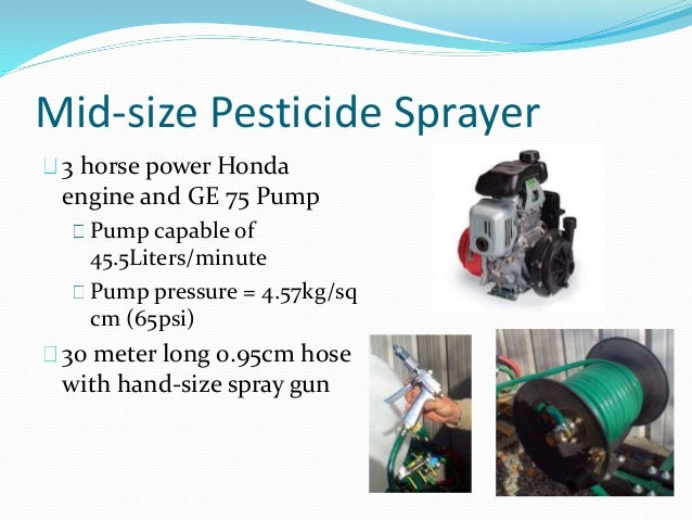 Mid-size Pesticide Sprayer 3 horse power Honda engine and GE 75 Pump Pump capable of 45.5Liters/minute Pump pressure = 4.5...