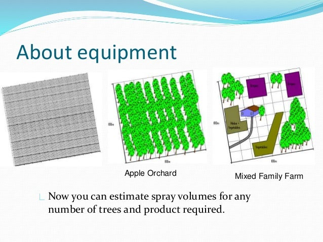About equipment Apple Orchard Mixed Family Farm Now you can estimate spray volumes for any number of trees and product req...