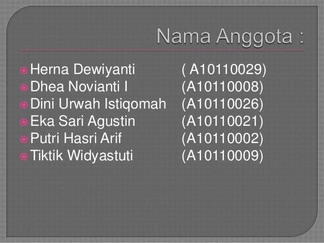 Herna Dewiyanti ( A10110029)Dhea Novianti I (A10110008)Dini Urwah Istiqomah (A10110026)Eka Sari Agustin (A10110021)Pu...