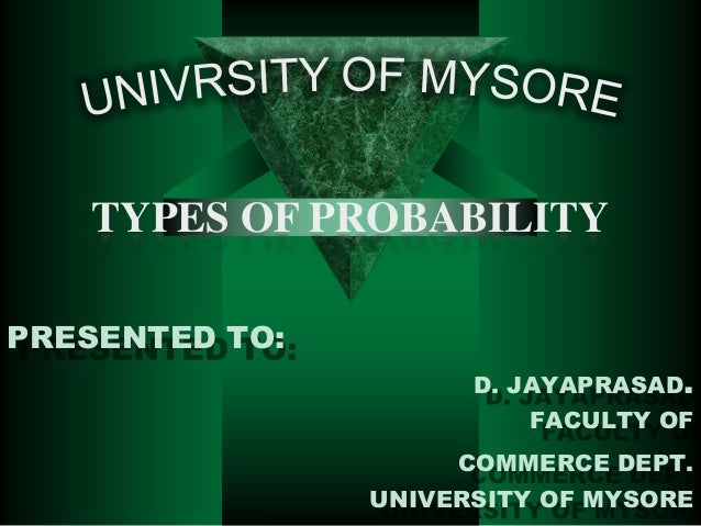 TYPES OF PROBABILITY PRESENTED TO: D. JAYAPRASAD.  FACULTY OF COMMERCE DEPT. UNIVERSITY OF MYSORE