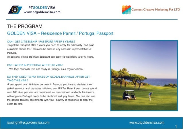 THE PROGRAM GOLDEN VISA – Residence Permit / Portugal Passport CAN I GET CITIZENSHIP / PASSPORT AFTER 6 YEARS? -To get the...