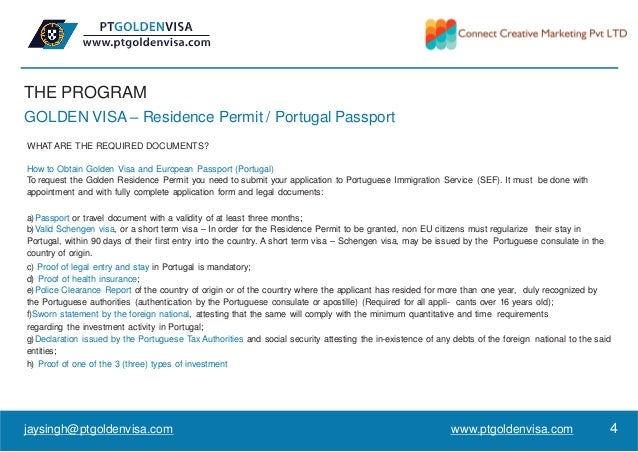 THE PROGRAM GOLDEN VISA – Residence Permit / Portugal Passport WHATARE THE REQUIRED DOCUMENTS? How to Obtain Golden Visa a...
