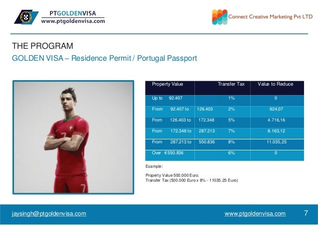 THE PROGRAM GOLDEN VISA – Residence Permit / Portugal Passport Property Value Transfer Tax Value to Reduce Up to 92.407 1%...