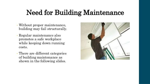 Different Categories under Common Building Maintenance Tasks