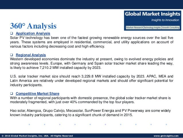 solar tracker market trends and forecasts Solar tracker (single axis and dual axis) report by material, application, and geography – global forecast to 2021 is a professional and comprehensive research report on the world's major regional market conditions, focusing on the main regions (north america, europe and asia-pacific) and the main countries (united states, germany, united .