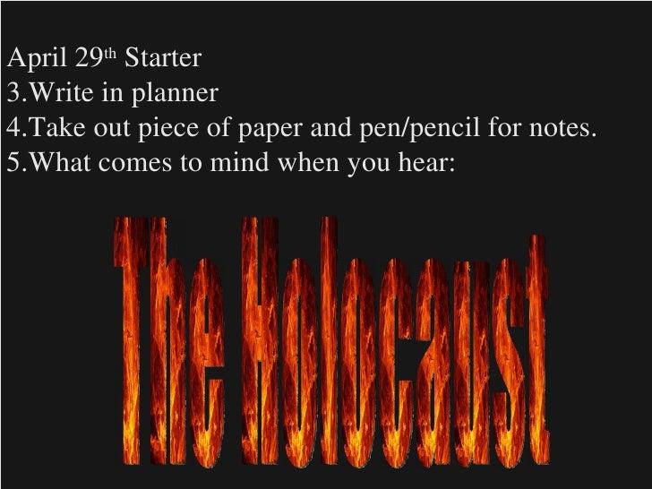 <ul><li>April 29 th  Starter </li></ul><ul><li>Write in planner </li></ul><ul><li>Take out piece of paper and pen/pencil f...