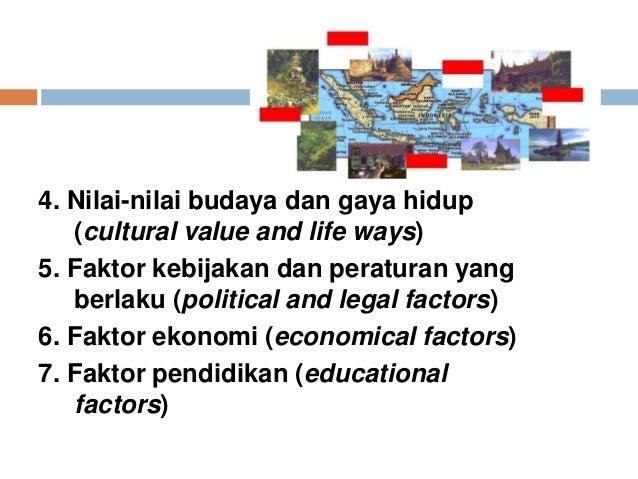 4. Nilai-nilai budaya dan gaya hidup (cultural value and life ways) 5. Faktor kebijakan dan peraturan yang berlaku (politi...