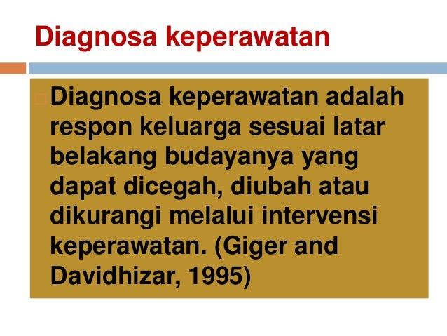 Diagnosa keperawatan  Diagnosa keperawatan adalah respon keluarga sesuai latar belakang budayanya yang dapat dicegah, diu...
