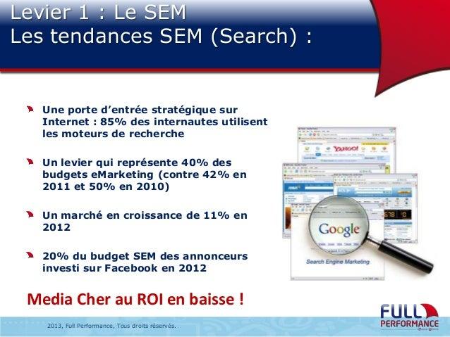 Levier 1 : Le SEM Les tendances SEM (Search) :  Une porte d'entrée stratégique sur Internet : 85% des internautes utilisen...