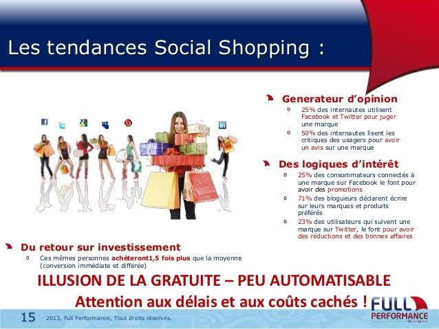 Les tendances Social Shopping : Generateur d'opinion 25% des internautes utilisent Facebook et Twitter pour juger une marq...