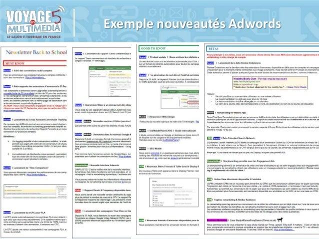 Exemple nouveautés Adwords  Voyage en Multimédia 5 | 6 & 7 Février 2014 | Saint-Raphaël - Slides disponibles sur www.salon...