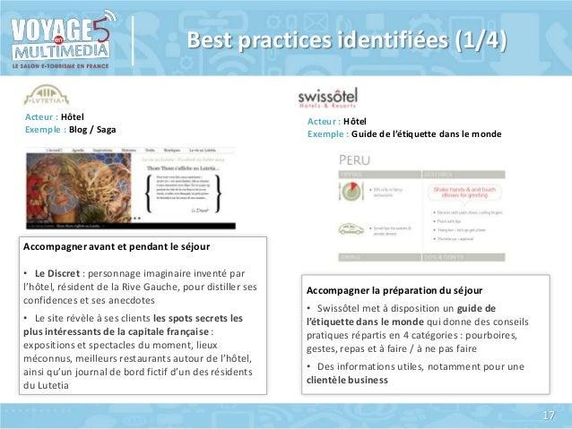 Best practices identifiées (1/4) Acteur : Hôtel Exemple : Blog / Saga  Acteur : Hôtel Exemple : Guide de l'étiquette dans ...