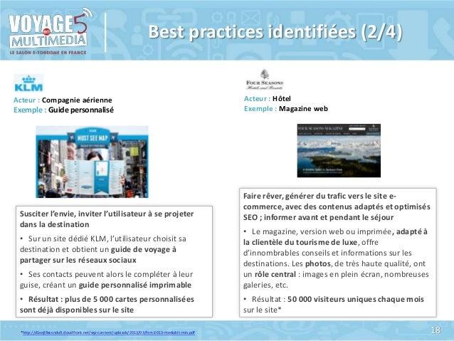 Best practices identifiées (2/4)  Acteur : Compagnie aérienne Exemple : Guide personnalisé  Susciter l'envie, inviter l'ut...