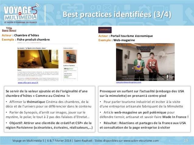 Best practices identifiées (3/4) Acteur : Chambre d'hôtes Exemple : Fiche produit chambre  Acteur : Portail tourisme écono...