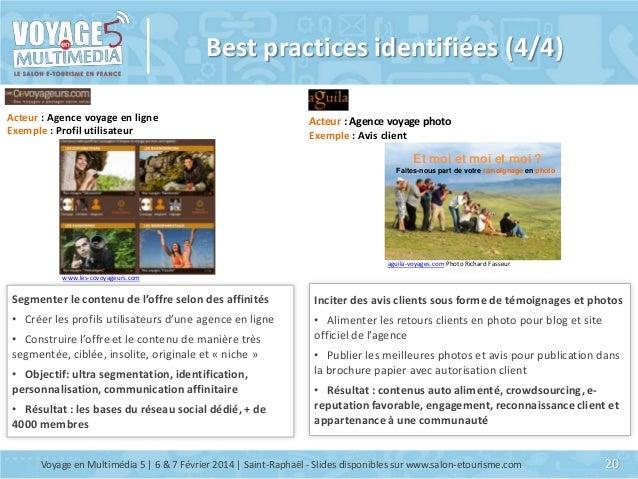 Best practices identifiées (4/4) Acteur : Agence voyage en ligne Exemple : Profil utilisateur  Acteur : Agence voyage phot...