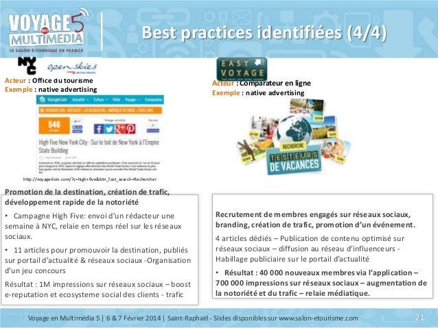 Best practices identifiées (4/4) Acteur : Office du tourisme Exemple : native advertising  Acteur : Comparateur en ligne E...