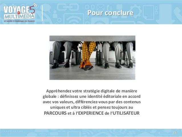Pour conclure  Appréhendez votre stratégie digitale de manière globale : définissez une identité éditoriale en accord avec...