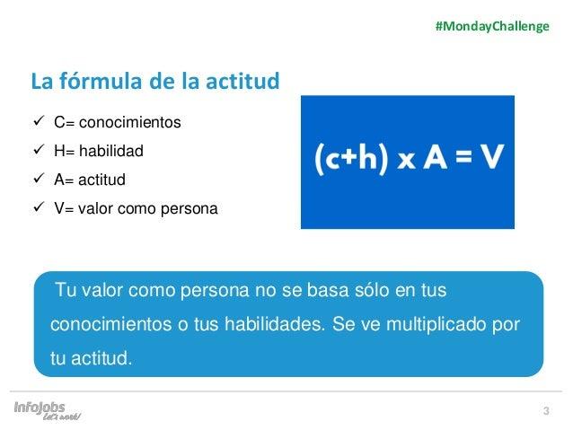 3 La fórmula de la actitud  C= conocimientos  H= habilidad  A= actitud  V= valor como persona Tu valor como persona no...