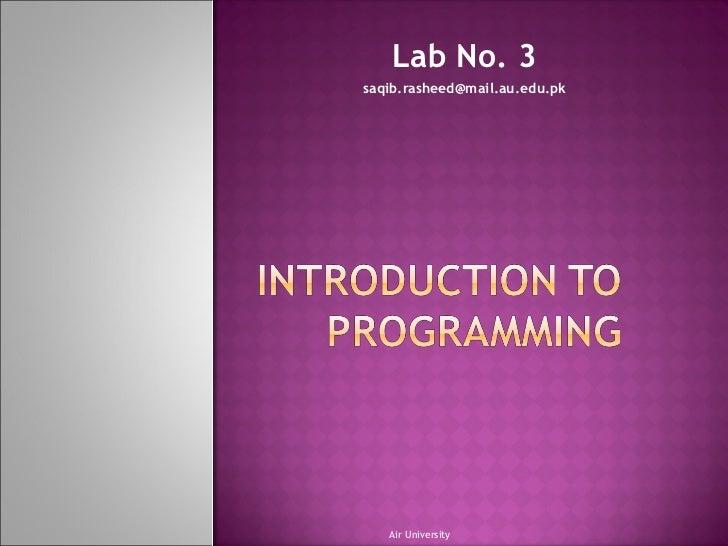 Lab No. 3 [email_address] Air University