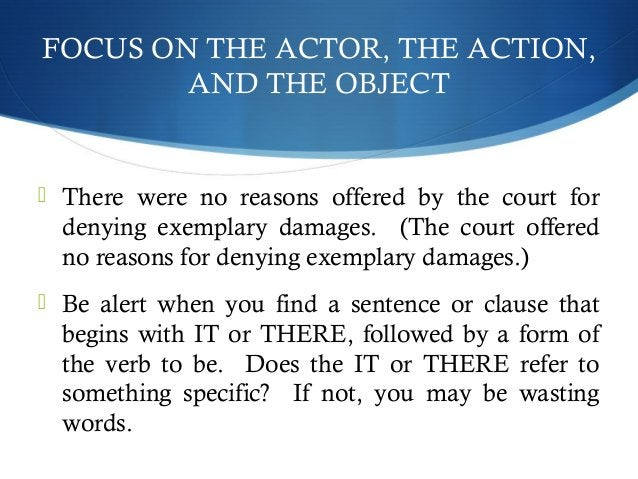 FOCUS ON THE ACTOR, THE ACTION,  AND THE OBJECT   There were no reasons offered by the court for  denying exemplary damag...