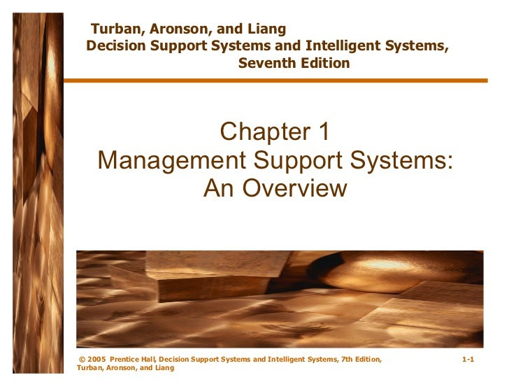 Chapter 1 Management Support Systems: An Overview Turban, Aronson, and Liang  Decision Support Systems and Intelligent Sys...