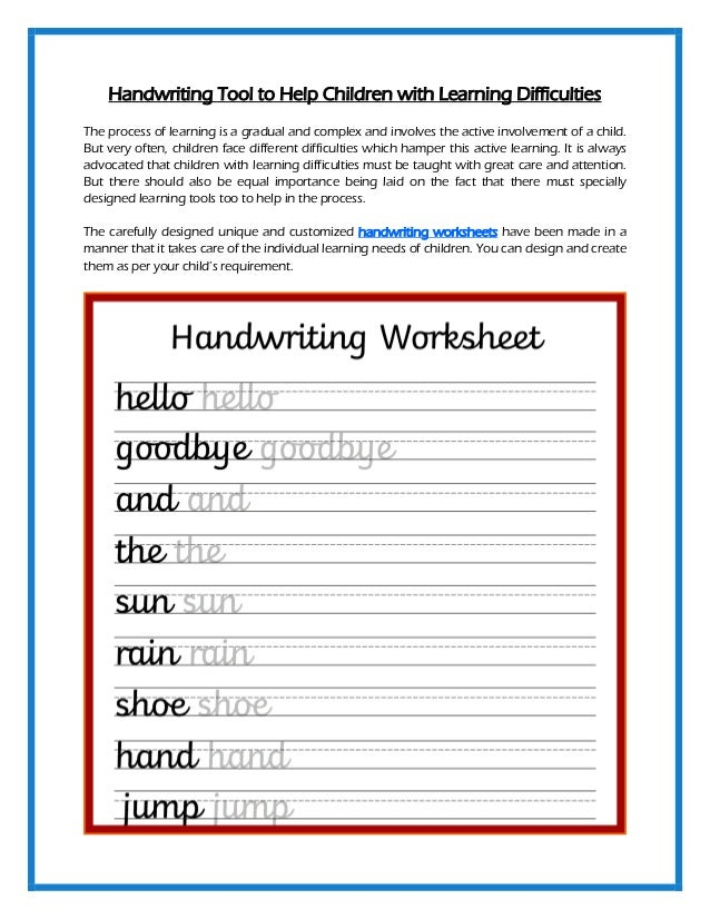 Handwriting Tool to Help Children with Learning Difficulties