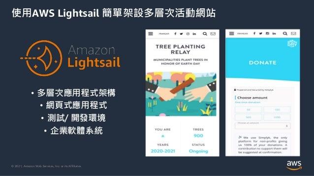 © 2021, Amazon Web Services, Inc. or its Affiliates. 使用AWS Lightsail 簡單架設多層次活動網站 • 多層次應用程式架構 • 網頁式應用程式 • 測試/ 開發環境 • 企業軟體系統