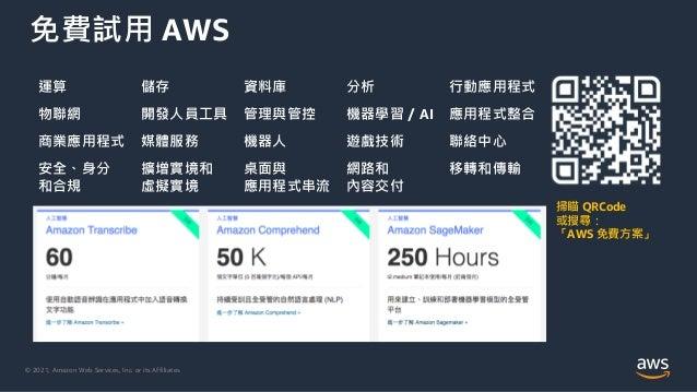 © 2021, Amazon Web Services, Inc. or its Affiliates. 免費試用 AWS 掃瞄 QRCode 或搜尋: 「AWS 免費方案」 運算 儲存 資料庫 分析 行動應用程式 物聯網 開發人員工具 管理與...