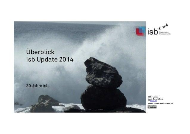 CC-by-Lizenz, Autor: Bernd Schmid für isb-w.eu Systemische Professionalität 2013 Überblick isb Update 2014 30 Jahre isb CC...