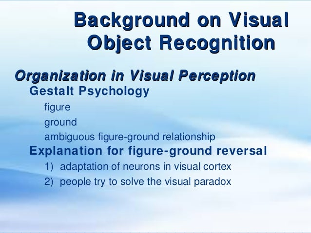 object recognition and visual perception Experience plays a key role in object recognition and visual perception visual perception is one sense of an individual's body that allows his or her brain to interpret what is seen object recognition is an individual's ability to recognize an object and its physical properties.