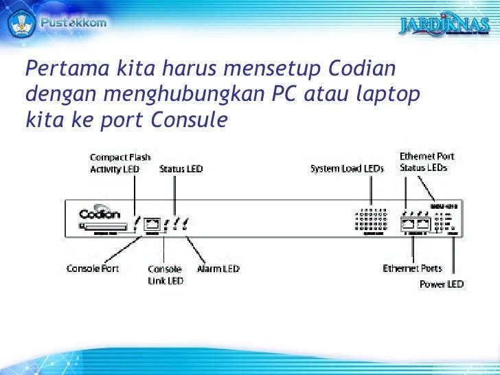 Pertama kita harus mensetup Codian dengan menghubungkan PC atau laptop kita ke port Consule