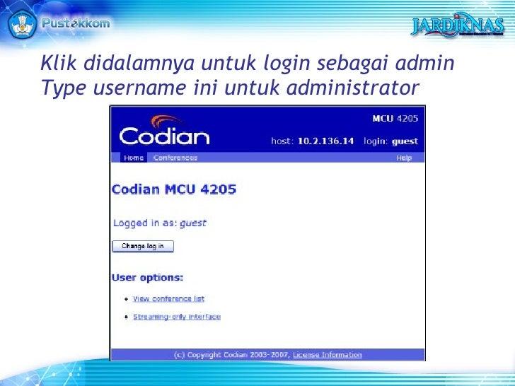 Klik didalamnya untuk login sebagai admin Type username ini untuk administrator