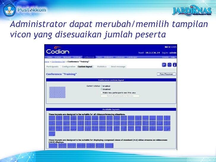 Administrator dapat merubah/memilih tampilan vicon yang disesuaikan jumlah peserta