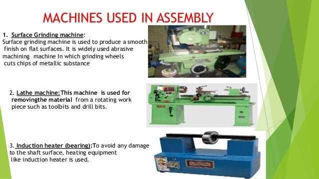 4.Pneumatic bolt tightening : It is pneumatically operated machineused in firm tightening of bolts. 5.Machine elements: Th...