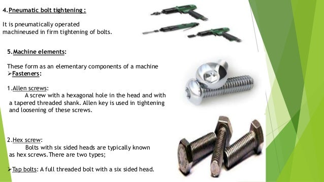  Metric hex bolts: Bolts with machine threads for use with a nut or a washer or any tapped hole. Also known as hexa cap s...