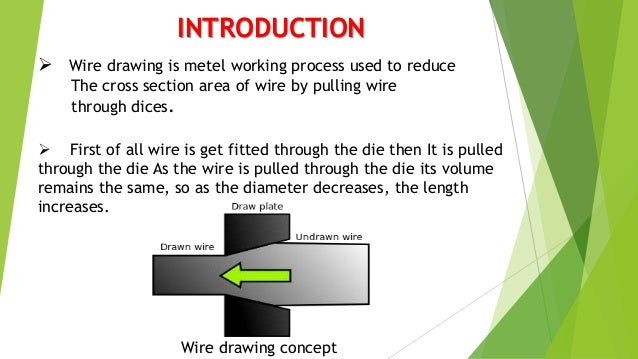 INTRODUCTION  Wire drawing is metel working process used to reduce The cross section area of wire by pulling wire through...