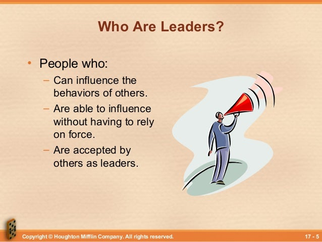 leadership behavior power and influence process of Is an influence process generated when acts of leading (eg influencing) are combined with acts of following (eg deferring) as individuals work together to attain mutual goals formal leadership exerted by persons appointed or elected to positions of formal authority in organizations.