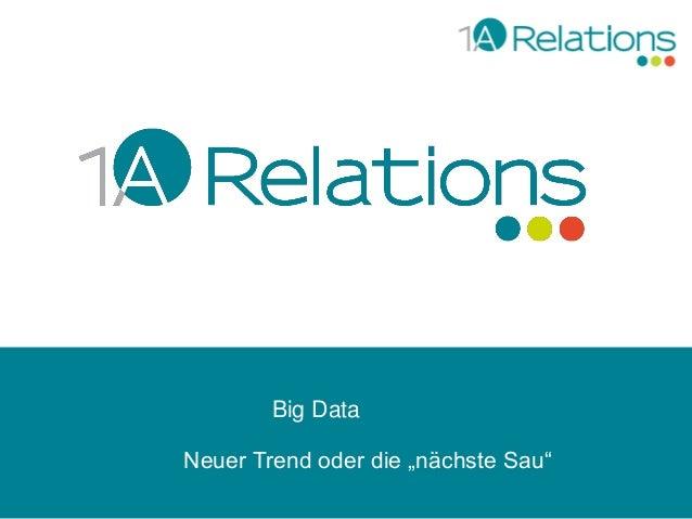 """Big Data Neuer Trend oder die """"nächste Sau"""""""