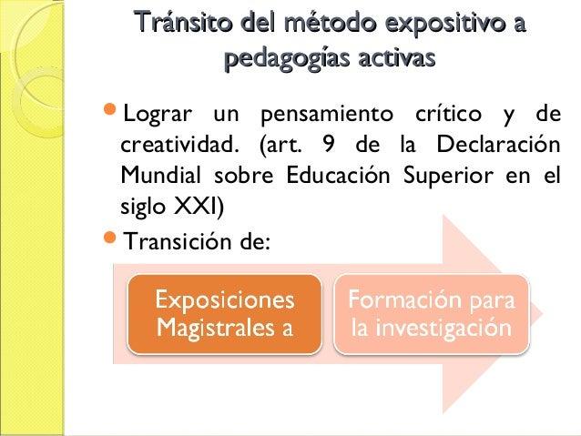 Tránsito del énfasis en la enseñanzaTránsito del énfasis en la enseñanza