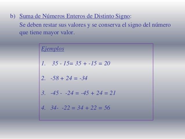 b) Suma de Números Enteros de Distinto Signo: Se deben restar sus valores y se conserva el signo del número que tiene mayo...
