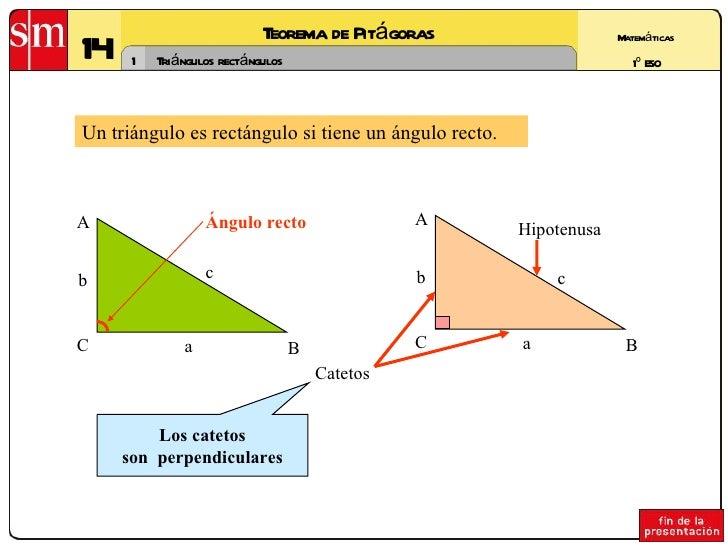 14 Teorema de Pitágoras 1 Matemáticas 1º ESO Triángulos rectángulos Un triángulo es rectángulo si tiene un ángulo recto. C...