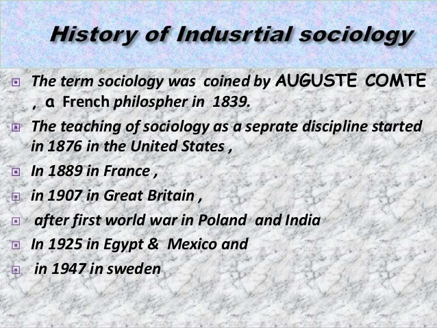 emergence of industrial sociology