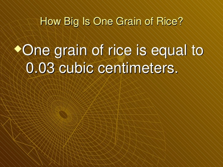 How Many Grains of Rice Does it Take to Fill up One Billion